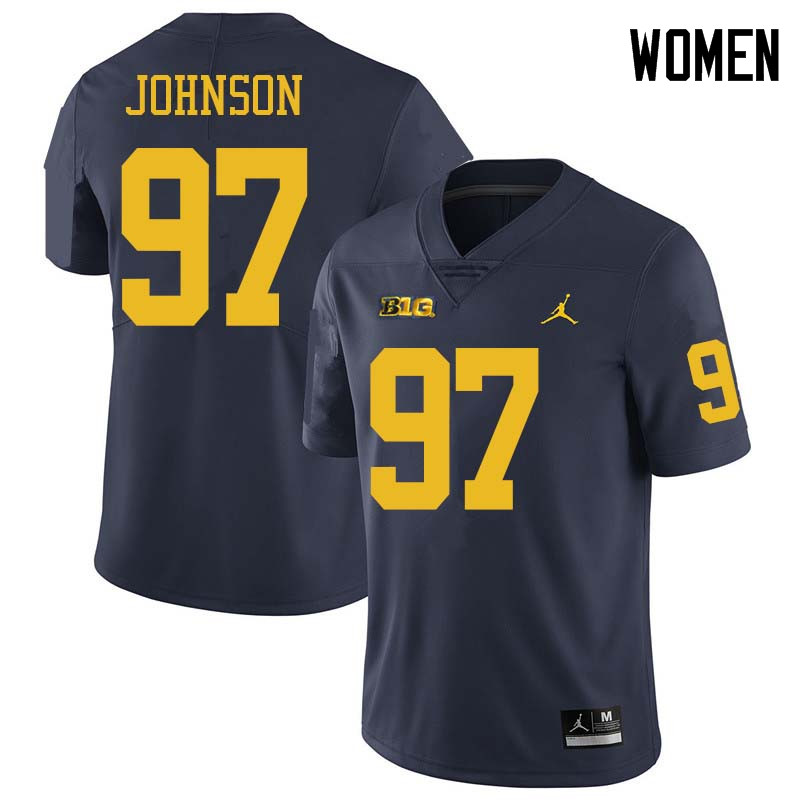 Jordan Brand Women #97 Ron Johnson Michigan Wolverines College Football Jerseys Sale-Navy