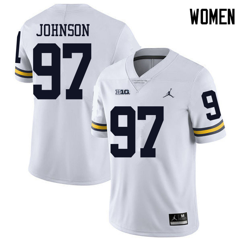 Jordan Brand Women #97 Ron Johnson Michigan Wolverines College Football Jerseys Sale-White