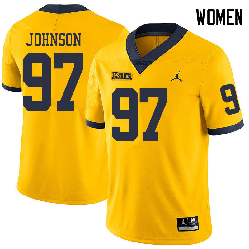 Jordan Brand Women #97 Ron Johnson Michigan Wolverines College Football Jerseys Sale-Yellow