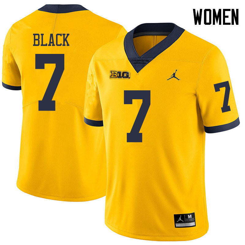 Jordan Brand Women #7 Tarik Black Michigan Wolverines College Football Jerseys Sale-Yellow