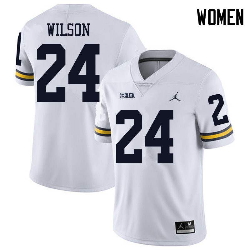 Jordan Brand Women #24 Tru Wilson Michigan Wolverines College Football Jerseys Sale-White