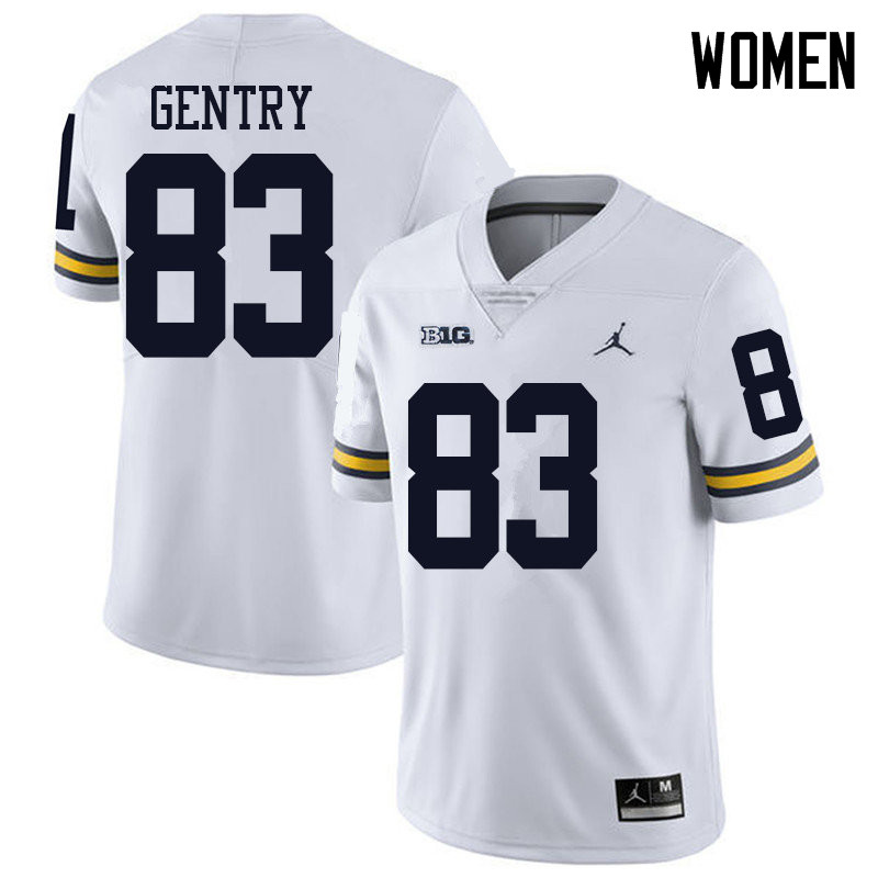 Jordan Brand Women #83 Zach Gentry Michigan Wolverines College Football Jerseys Sale-White
