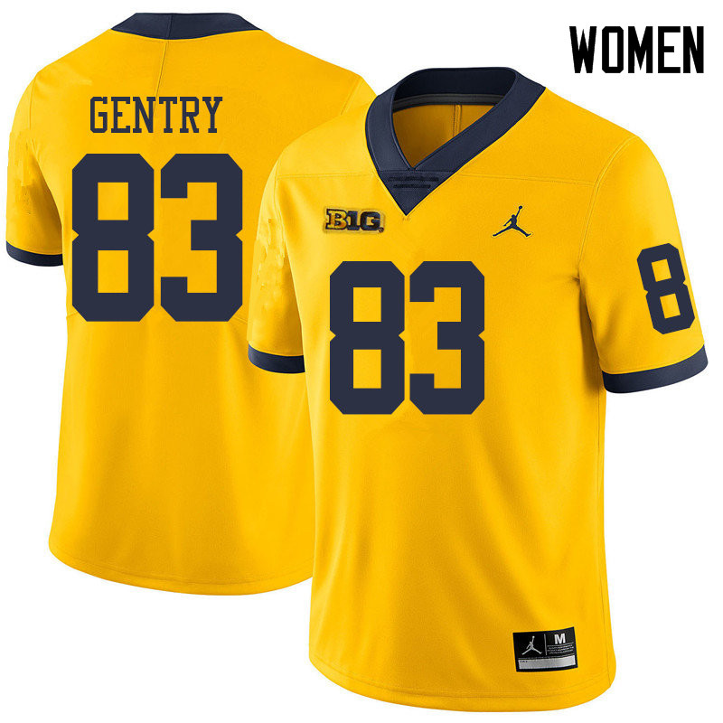 Jordan Brand Women #83 Zach Gentry Michigan Wolverines College Football Jerseys Sale-Yellow