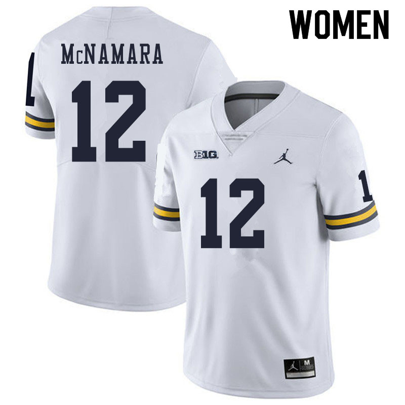 Women #12 Cade McNamara Michigan Wolverines College Football Jerseys Sale-White