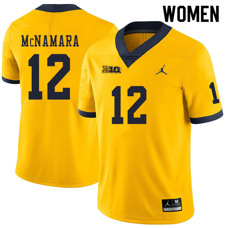 Women #12 Cade McNamara Michigan Wolverines College Football Jerseys Sale-Yellow