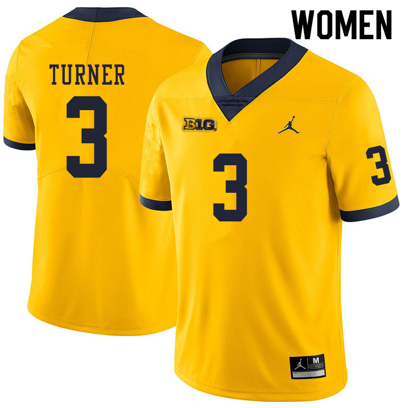 Women #3 Christian Turner Michigan Wolverines College Football Jerseys Sale-Yellow