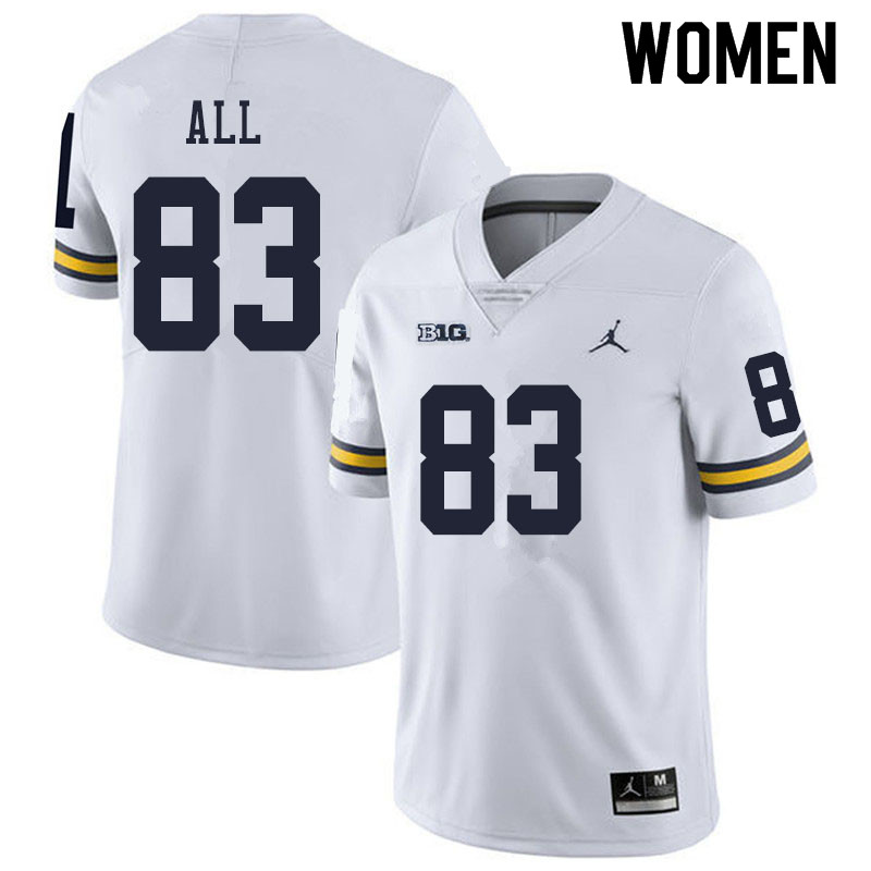 Women #83 Erick All Michigan Wolverines College Football Jerseys Sale-White