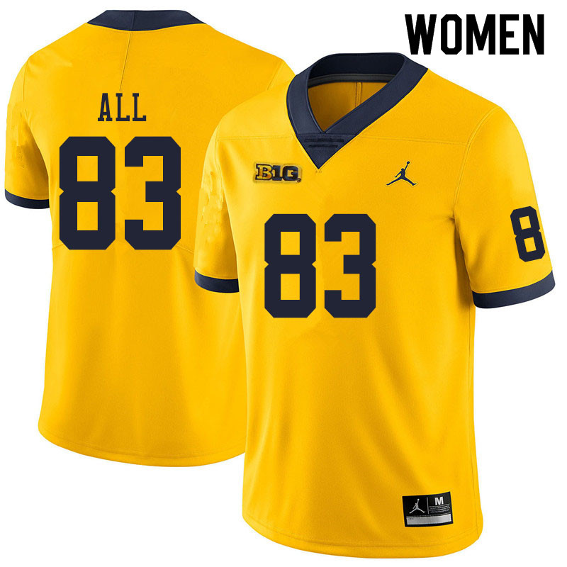Women #83 Erick All Michigan Wolverines College Football Jerseys Sale-Yellow