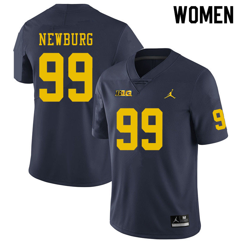 Women #99 Gabe Newburg Michigan Wolverines College Football Jerseys Sale-Navy