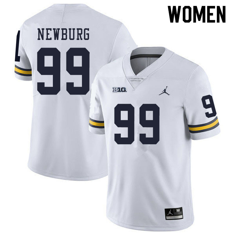 Women #99 Gabe Newburg Michigan Wolverines College Football Jerseys Sale-White