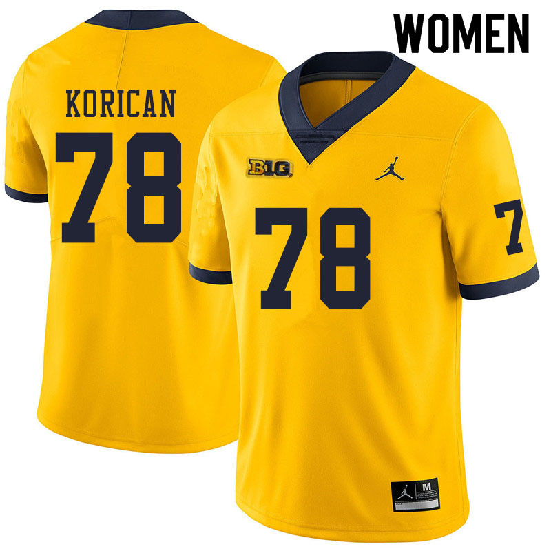 Women #78 Griffin Korican Michigan Wolverines College Football Jerseys Sale-Yellow