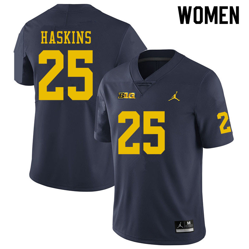 Women #25 Hassan Haskins Michigan Wolverines College Football Jerseys Sale-Navy