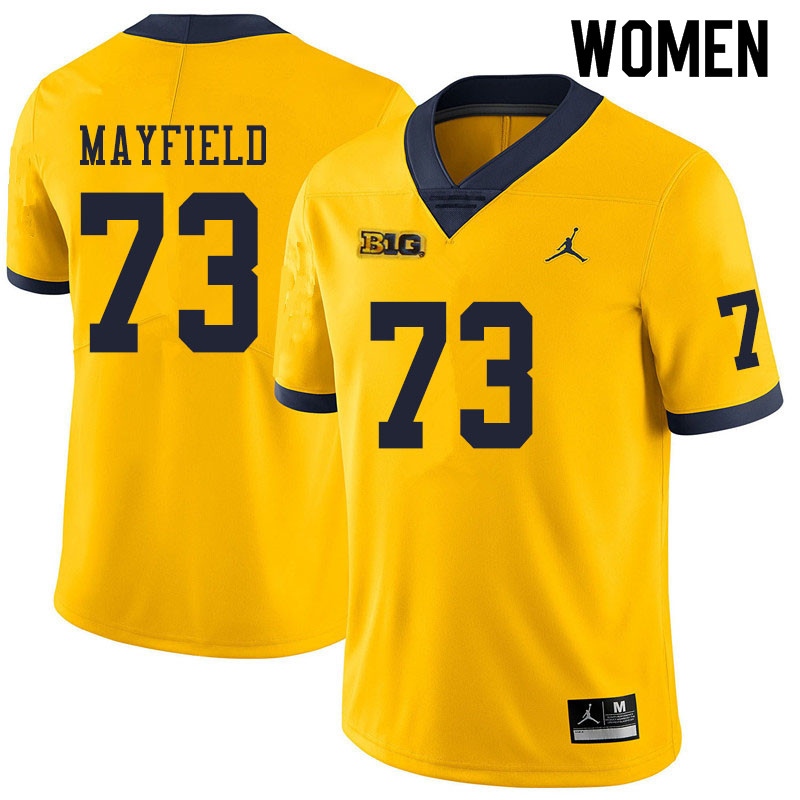 Women #73 Jalen Mayfield Michigan Wolverines College Football Jerseys Sale-Yellow
