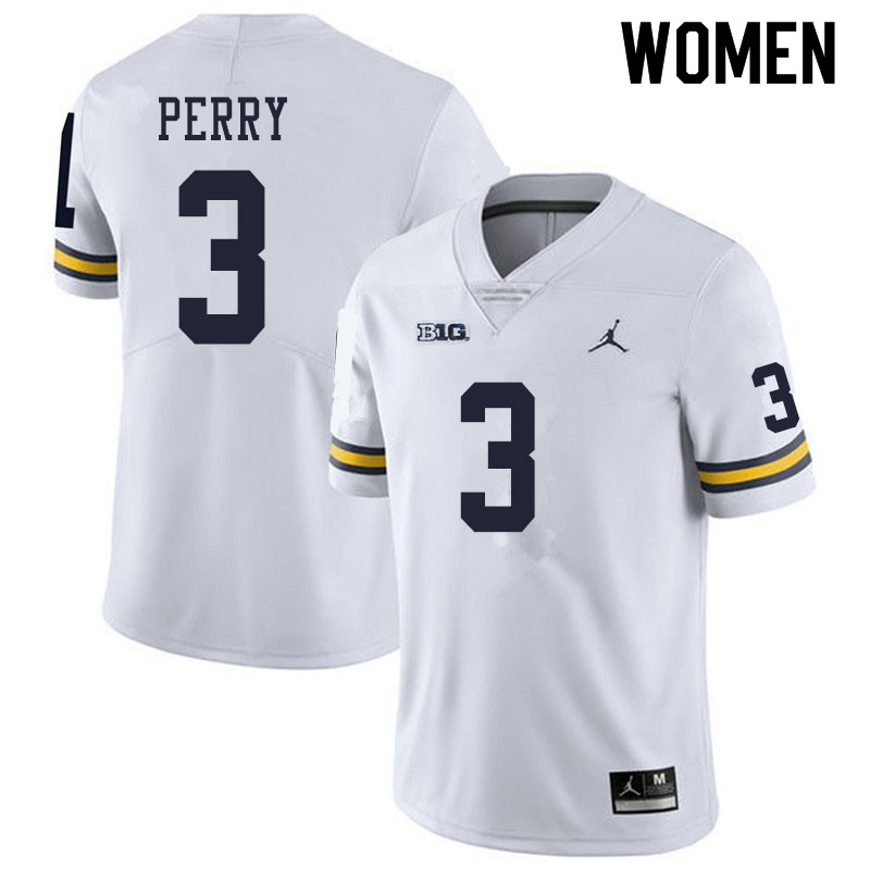 Women #3 Jalen Perry Michigan Wolverines College Football Jerseys Sale-White