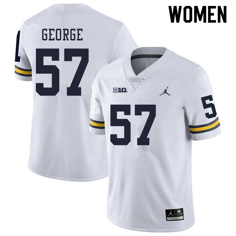 Women #57 Joey George Michigan Wolverines College Football Jerseys Sale-White