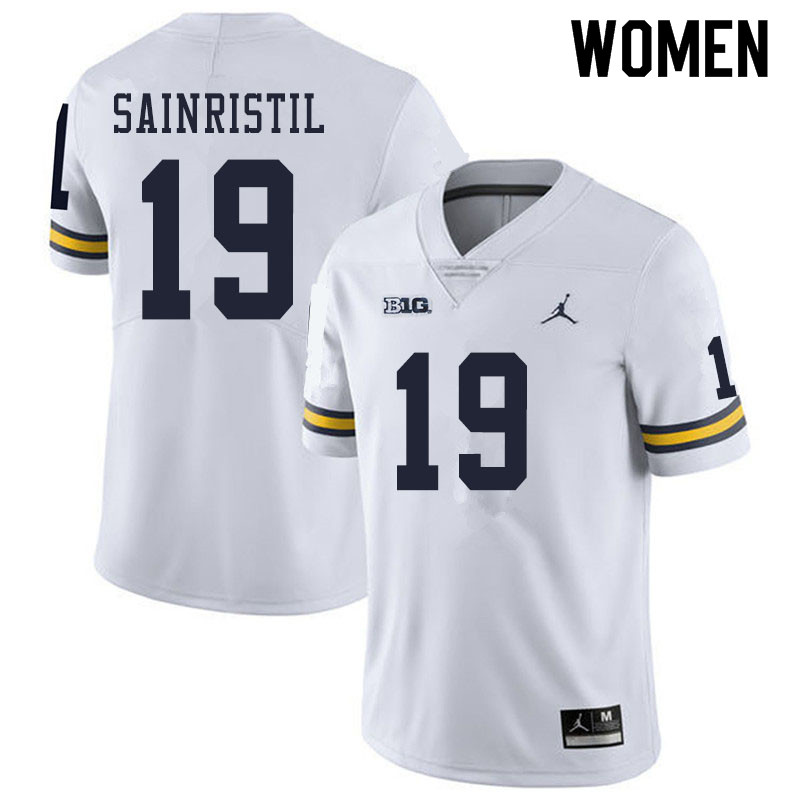 Women #19 Mike Sainristil Michigan Wolverines College Football Jerseys Sale-White