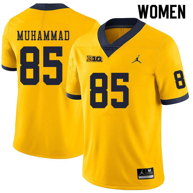 Women #85 Mustapha Muhammad Michigan Wolverines College Football Jerseys Sale-Yellow