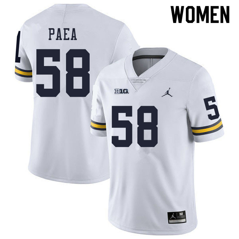 Women #58 Phillip Paea Michigan Wolverines College Football Jerseys Sale-White