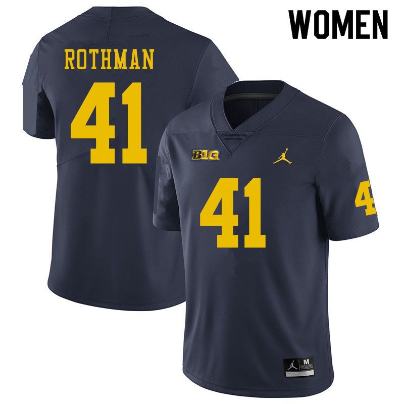 Women #41 Quinn Rothman Michigan Wolverines College Football Jerseys Sale-Navy