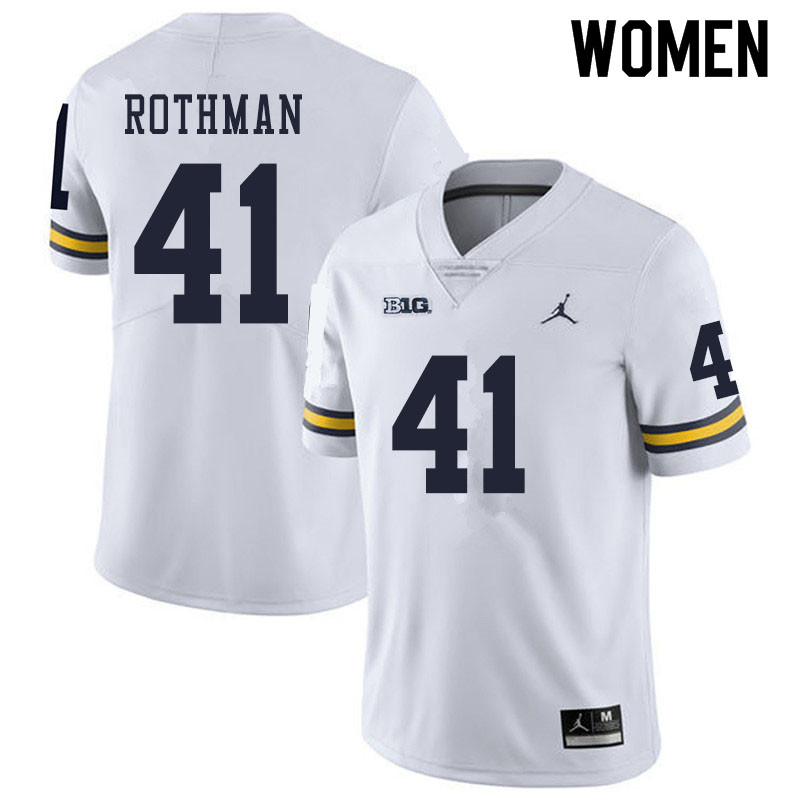 Women #41 Quinn Rothman Michigan Wolverines College Football Jerseys Sale-White