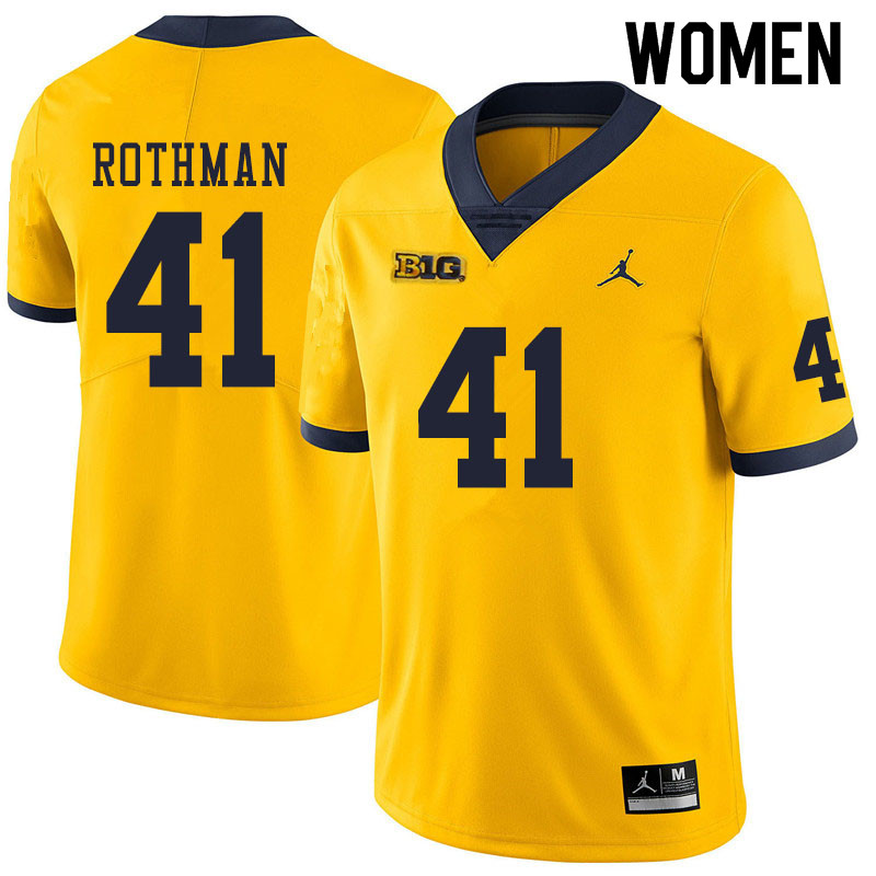 Women #41 Quinn Rothman Michigan Wolverines College Football Jerseys Sale-Yellow