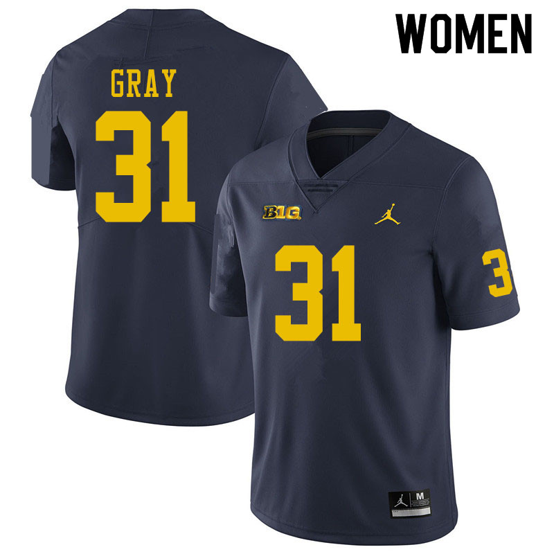 Women #31 Vincent Gray Michigan Wolverines College Football Jerseys Sale-Navy