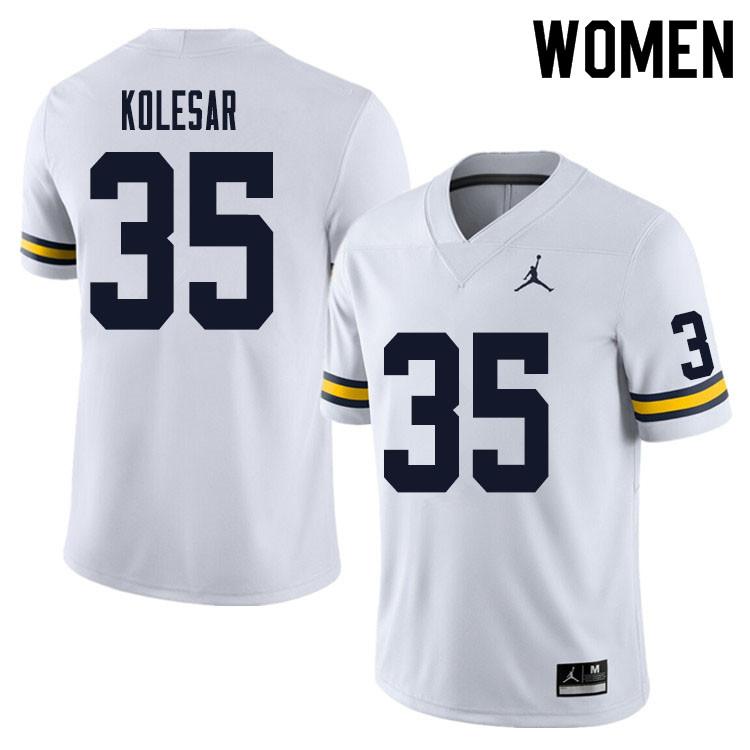 Women #35 Caden Kolesar Michigan Wolverines College Football Jersey Sale-White