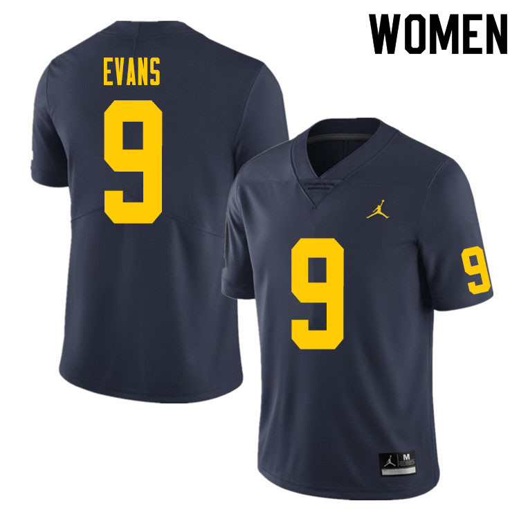 Women #9 Chris Evans Michigan Wolverines College Football Jersey Sale-Navy