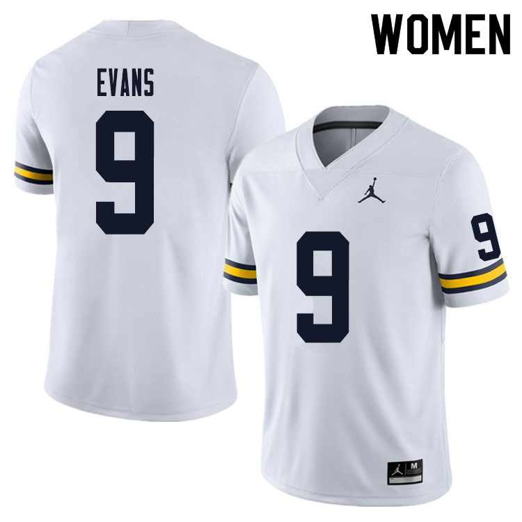 Women #9 Chris Evans Michigan Wolverines College Football Jersey Sale-White
