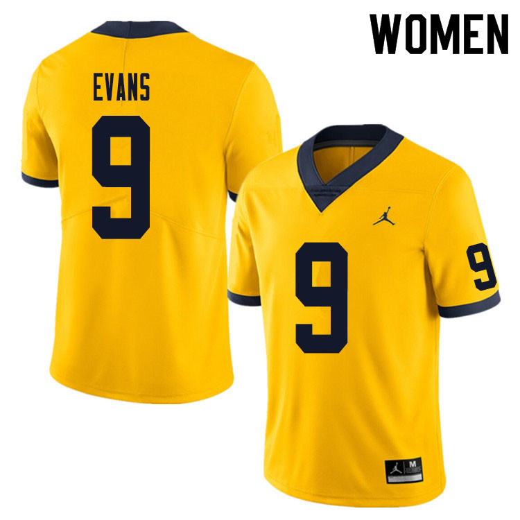 Women #9 Chris Evans Michigan Wolverines College Football Jersey Sale-Yellow