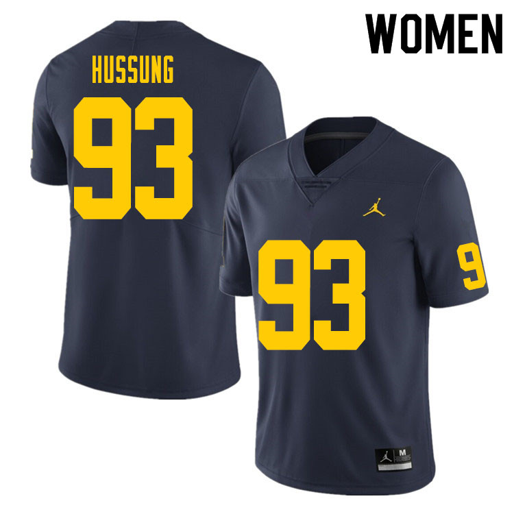 Women #93 Cole Hussung Michigan Wolverines College Football Jersey Sale-Navy
