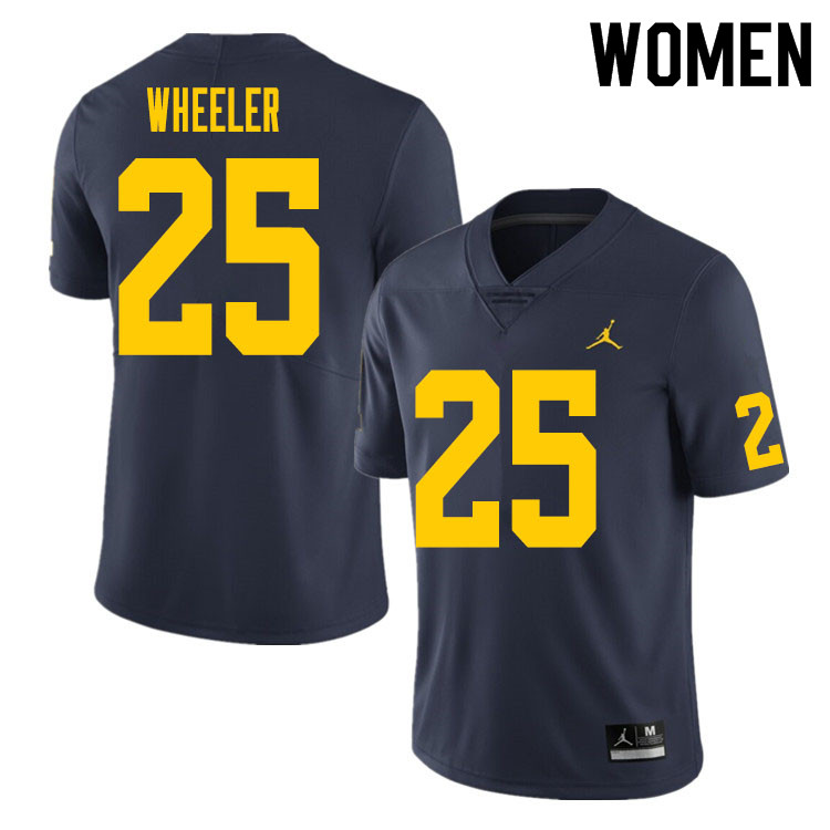 Women #25 Cornell Wheeler Michigan Wolverines College Football Jersey Sale-Navy