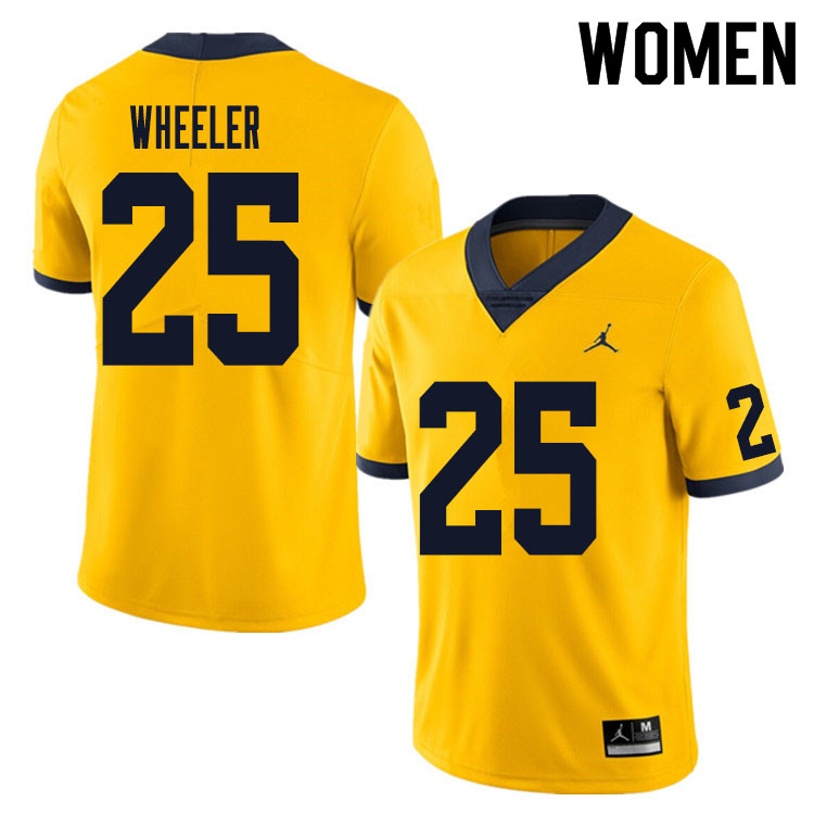 Women #25 Cornell Wheeler Michigan Wolverines College Football Jersey Sale-Yellow
