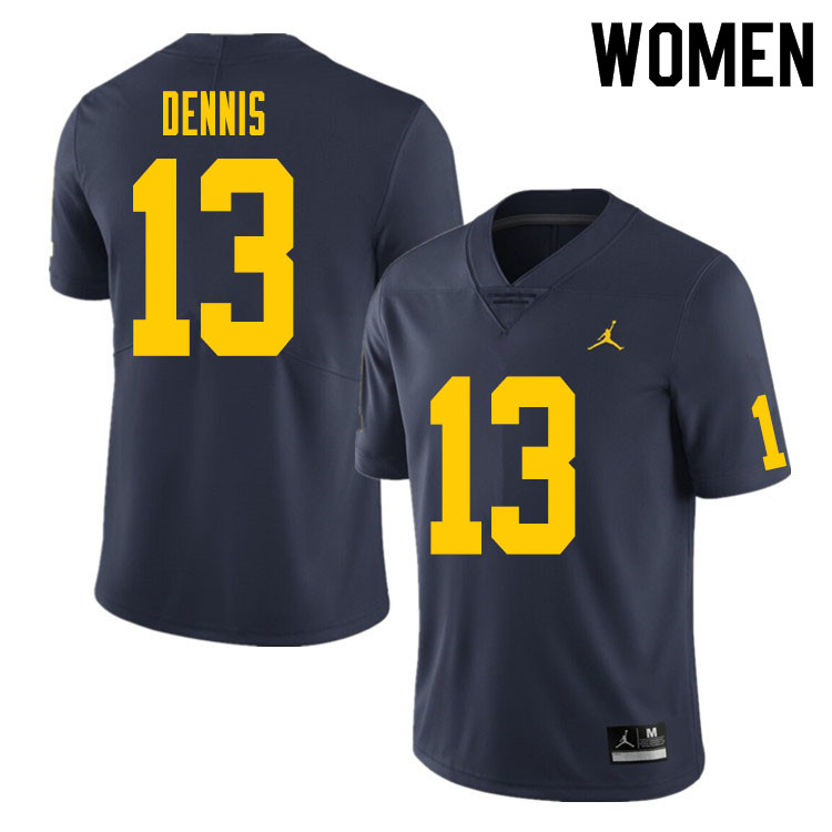 Women #13 Eamonn Dennis Michigan Wolverines College Football Jersey Sale-Navy