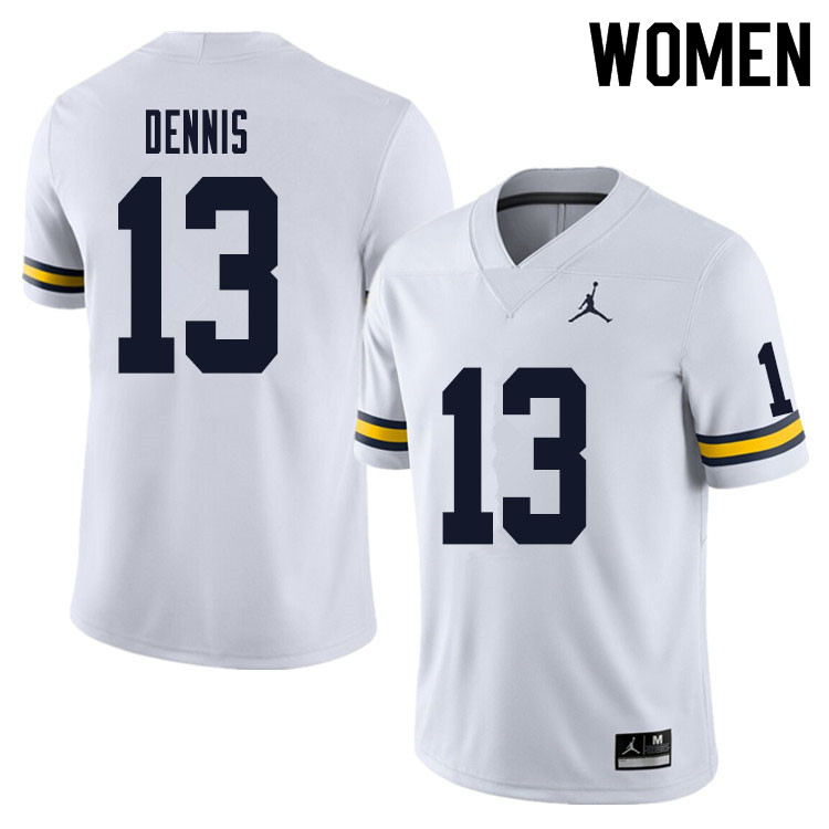 Women #13 Eamonn Dennis Michigan Wolverines College Football Jersey Sale-White