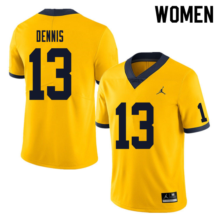 Women #13 Eamonn Dennis Michigan Wolverines College Football Jersey Sale-Yellow