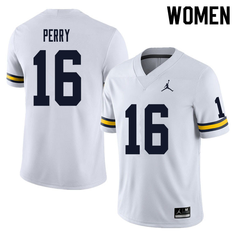 Women #16 Jalen Perry Michigan Wolverines College Football Jersey Sale-White