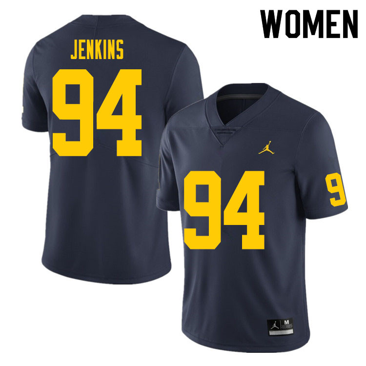 Women #94 Kris Jenkins Michigan Wolverines College Football Jersey Sale-Navy