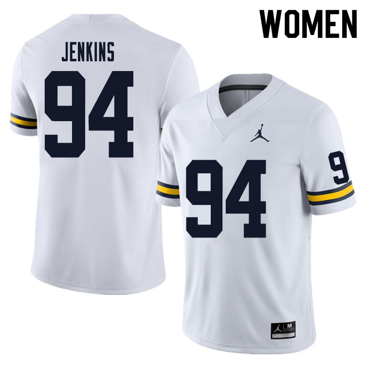 Women #94 Kris Jenkins Michigan Wolverines College Football Jersey Sale-White