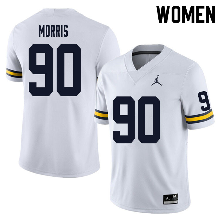 Women #90 Mike Morris Michigan Wolverines College Football Jersey Sale-White