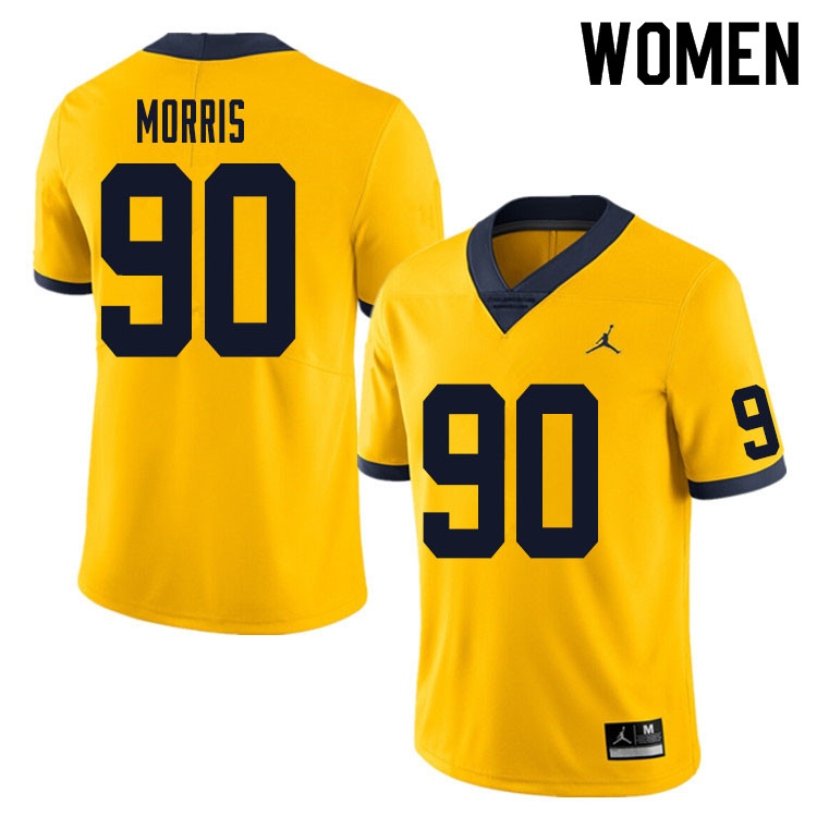 Women #90 Mike Morris Michigan Wolverines College Football Jersey Sale-Yellow