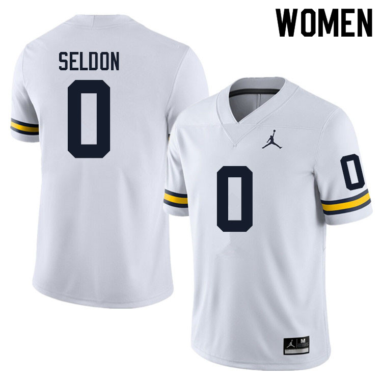 Women #0 Andre Seldon Michigan Wolverines College Football Jerseys Sale-White
