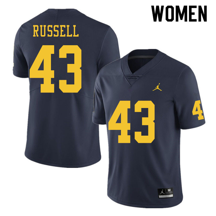 Women #43 Andrew Russell Michigan Wolverines College Football Jerseys Sale-Navy