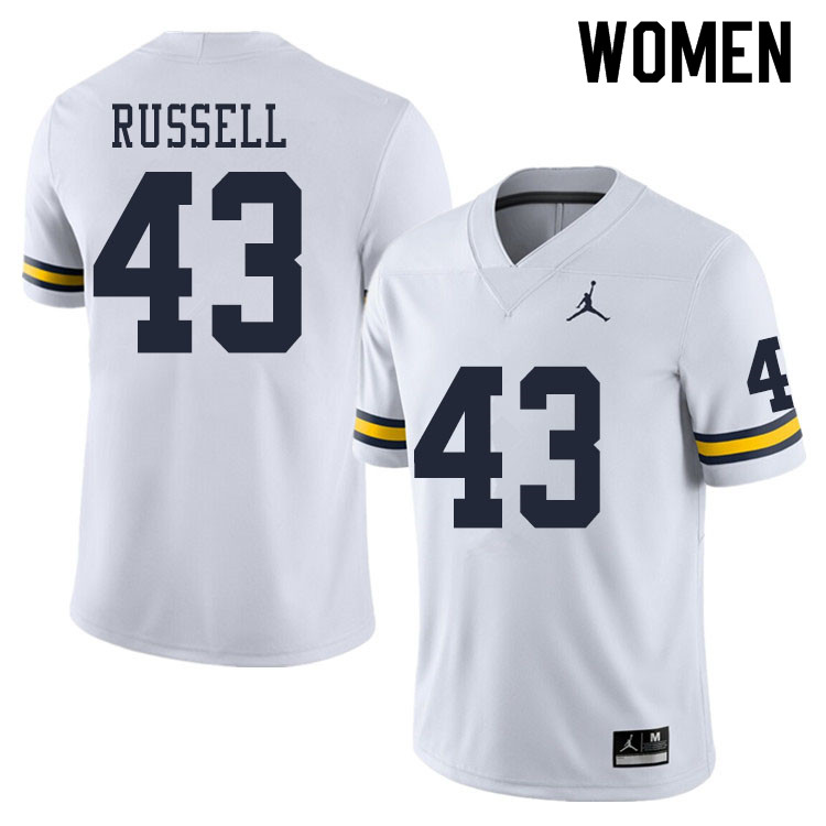 Women #43 Andrew Russell Michigan Wolverines College Football Jerseys Sale-White
