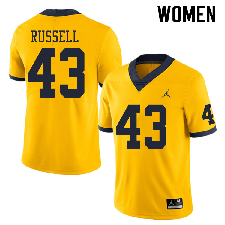 Women #43 Andrew Russell Michigan Wolverines College Football Jerseys Sale-Yellow