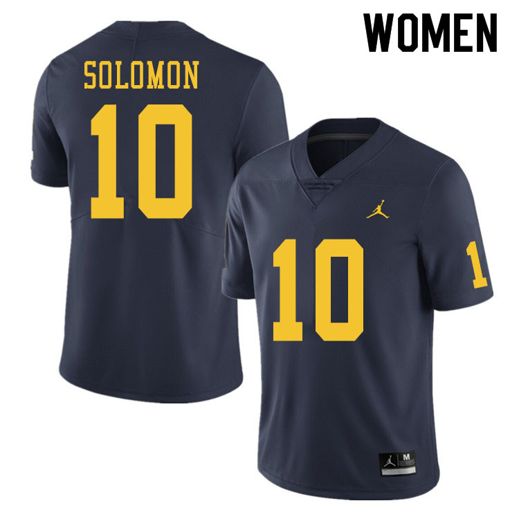 Women #10 Anthony Solomon Michigan Wolverines College Football Jerseys Sale-Navy