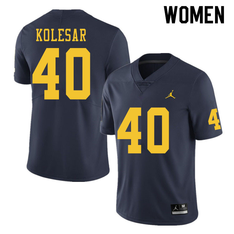 Women #40 Caden Kolesar Michigan Wolverines College Football Jerseys Sale-Navy