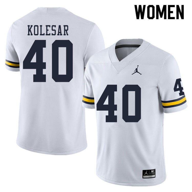 Women #40 Caden Kolesar Michigan Wolverines College Football Jerseys Sale-White