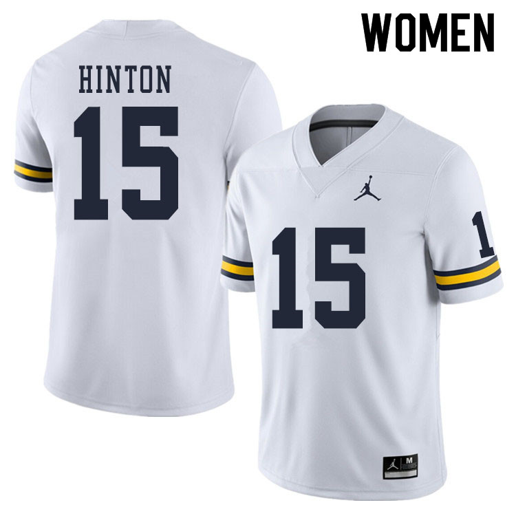 Women #15 Christopher Hinton Michigan Wolverines College Football Jerseys Sale-White