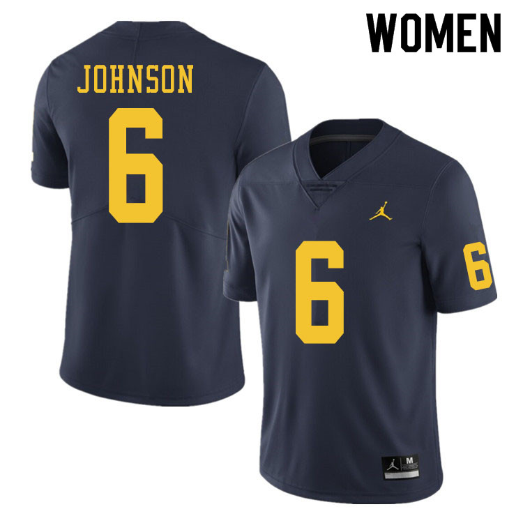 Women #6 Cornelius Johnson Michigan Wolverines College Football Jerseys Sale-Navy